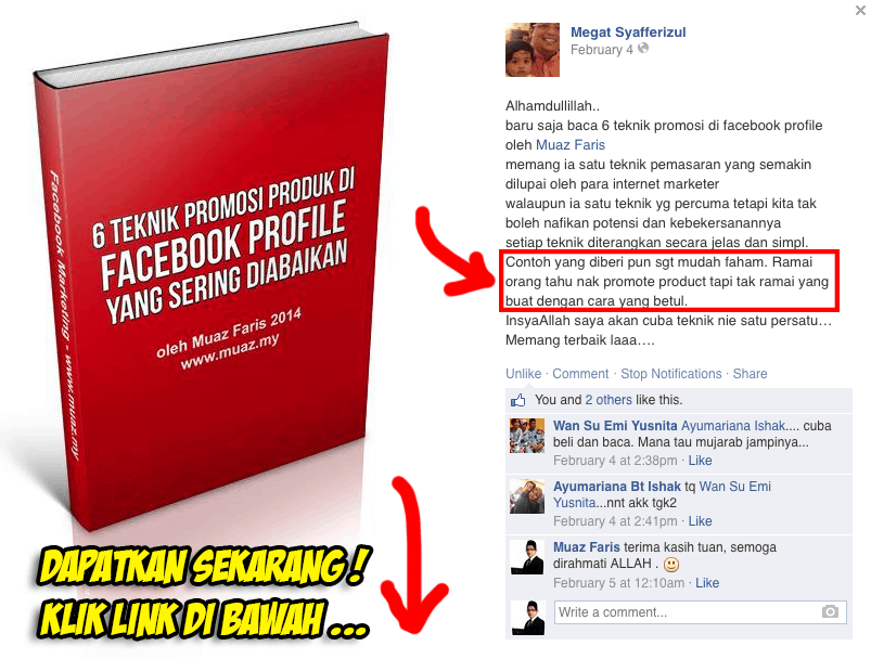 testimoni fb profile marketing copy